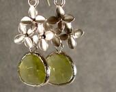 Apple Green Glass Cherry Blossom Dangle Silver Bridesmaid Earrings, Wedding Earrings, Silver Earrings, Green Earrings (1844)