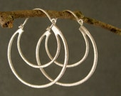 Silver Double Hoop Earrings, Bridesmaid Earrings, Wedding Jewelry, Silver Earrings (4261Wx.)