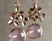 Lavender Glass Cherry Blossom Dangle Silver Bridesmaid Earrings, Wedding Earrings, Lavender Earrings, Silver Earrings (4247W)