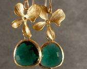 Wedding Earrings - Teal Green Glass Earrings, Gold Bridesmaids Earrings, Green Earrings, Gold Blossom Teal Green Earrings (647-2550W)