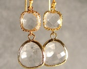 Crystal Two-Tier Glass Gold Bridesmaid Earrings, Wedding Earring,  Bridal Earrings, Bridesmaid Jewelry, Bridesmaid Gift Ideas (407G)