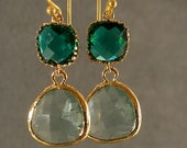 SALE-- 20% OFF Teal Green and Prasiolite Glass Gold Bridesmaid Earrings, Wedding Earrings, Bridesmaid Jewelry (2774W)