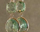 Prasiolite Glass Silver Earrings - Silver Bridesmaid Earrings, Silver Earrings, Bridesmaid Earrings, Wedding Earrings (665-2576W)