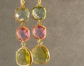 Prasiolite, Lavender, and Apple Green Earrings, Bridesmaid Earrings, Gold Bridesmaid Earrings, Wedding Earrings (4624)