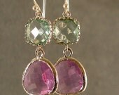 Prasiolite & Lavender Glass Silver Earrings, Bridesmaid Earrings, Wedding Earrings, Bridal Earrings, Silver Earrings (4438)