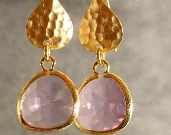 Lavender Glass Hammered Gold Bridesmaid Earrings, Wedding Earrings, Gold Earrings  (1510)