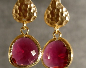 Fuchsia Glass Hammered Gold Bridesmaid Earrings, Wedding Earrings, Gold Earrings, Bridal Earrings, Wedding Gifts (4621)