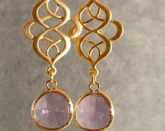 Lavender Glass Gold Oriental Earrings, Gold Earrings, Gold Bridesmaid Earrings, Bridesmaid Earrings, Wedding Earrings (4525)