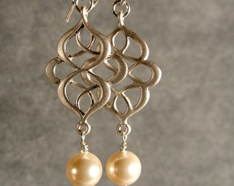 Wedding Earrings - Bridesmaid Gifts, Silver Pearl Earrings, Silver Oriental Earrings (570-1161W)