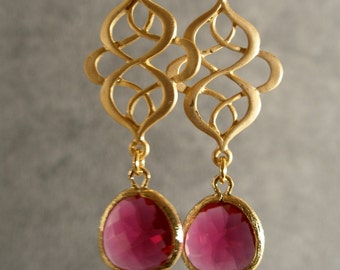 Fuschia Glass Oriental Gold Bridesmaid Earrings, Gold Earrings, Bridesmaid Jewelry, Wedding Jewelry, Bridal Jewelry (4576W)