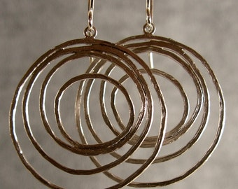 Circle Hoops Silver Bridesmaid Earrings, Silver Hoop Earrings, Silver Circle Earrings (4044x)