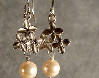 Silver Cherry Blossom Dangle Wedding Earrings, Wedding Jewelry, Silver Earrings, Pearl Earrings, Silver Pearl Earrings (3574)