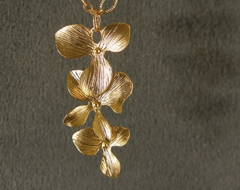 Gold Necklace - Gold Pendant Necklace, Gold Cascading Orchid Flowers Necklace (223-1853)
