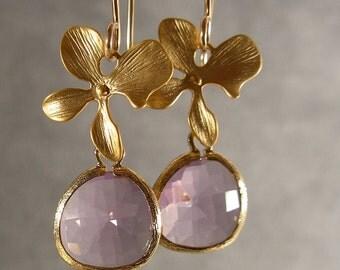 Wedding Earrings - Gold Lavender Glass Earrings, Gold Blossom Earrings (365-2051W)