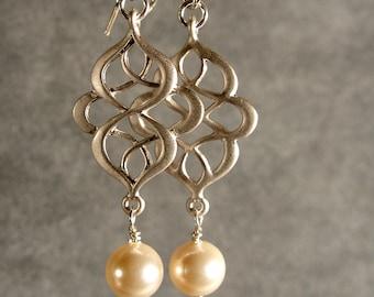 Pearl Oriental Silver Bridesmaid Earrings, Silver Jewelry, Silver Earrings, Silver Pearl Earrings, Pearl Earrings (4590)