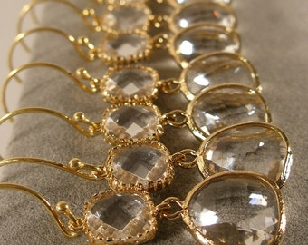 Set of 6 Crystal Glass Gold Bridesmaid Earrings, Wedding Earring,  Bridal Sets, Bridesmaid Jewelry, Bridesmaid Gift Ideas (M407G6)