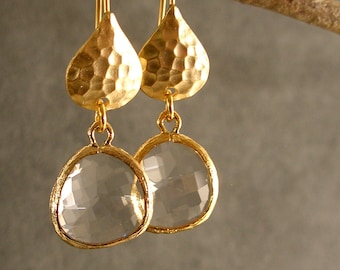 Crystal Hammered Gold Bridesmaid Earrings, Wedding Earrings, Bridal Earrings, Gold Earrings, Bridesmaid Gift  (4254)