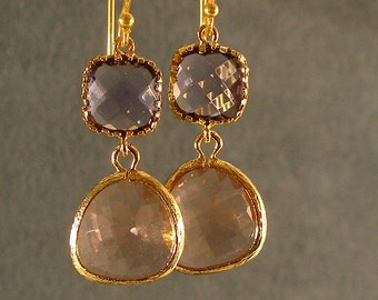 Tanzanite and Light Peach Glass Gold Earrings - Bridesmaid Earrings, Bridesmaid Gift,  Gold Bridesmaid Earrings, Gold Earrings (4669W)