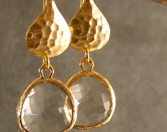 Wedding Earrings - Bridal Earrings, Bridesmaid Earrings, Gold Bridesmaid Earrings, Gold Crystal Hammered Earrings (3840w)