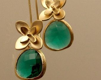 Teal Green Glass Little Flowers Gold Bridesmaid Earrings, Gold Earrings, Bridesmaid Gifts (4158)