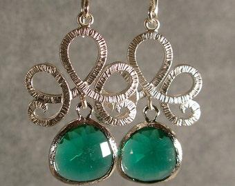 Teal Green Fleur de Lis Glass Silver Bridesmaid Earrings, Bridal Jewelry, Bridesmaid Jewelry, Bridesmaid Gift, Wedding Earrings (401S)