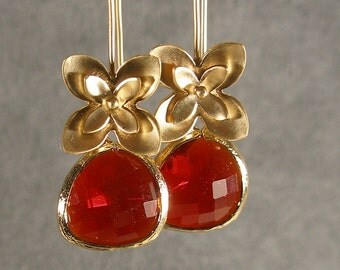 Garnet Red Gold Blossom Bridesmaids Earrings, Wedding Earrings, Gold Earrings, Wedding Earrings, Bridesmaid Jewelry (1864)
