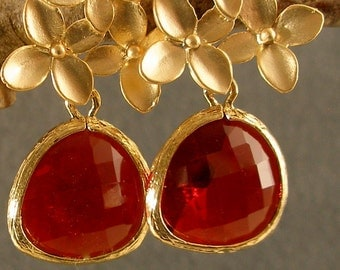 Garnet Red Glass Cherry Blossoms Gold Bridesmaid Earrings, Red Earrings, Gold Earrings (1838)