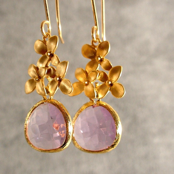Lavender Glass Cherry Blossoms Dangle Gold Bridesmaid Earrings, Gold Jewelry, Bridesmaid Jewelry, Wedding Earrings (575-2426)