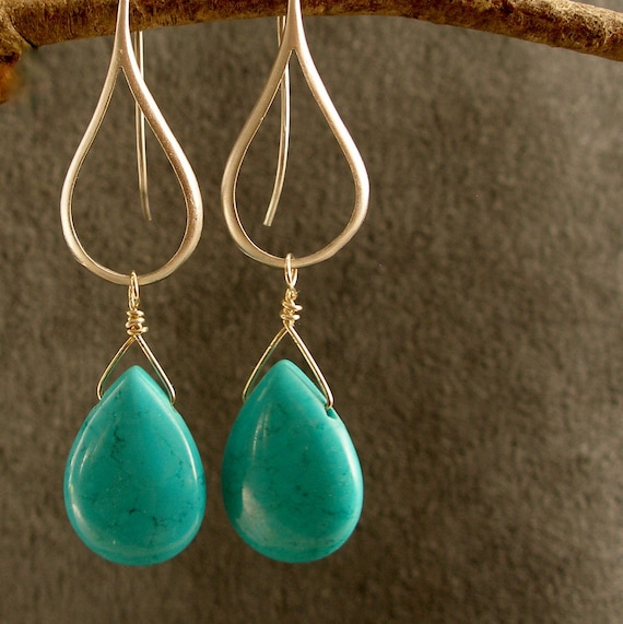 Silver Earrings - Turquoise Silver Earrings, Turquoise Earrings, Turquoise Silver Contemporary Earrings (3642)