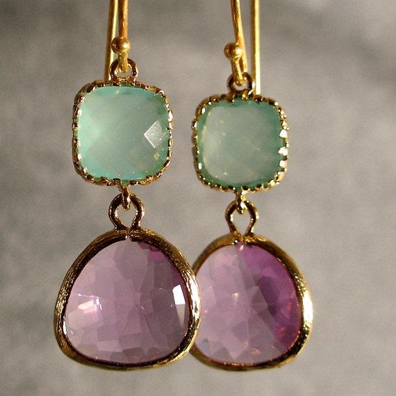 Light Mint and Lavender Glass Gold Earrings, Gold Earrings, Gold Bridesmaid Earrings, Bridesmaid Earrings, Wedding Earrings (4214)