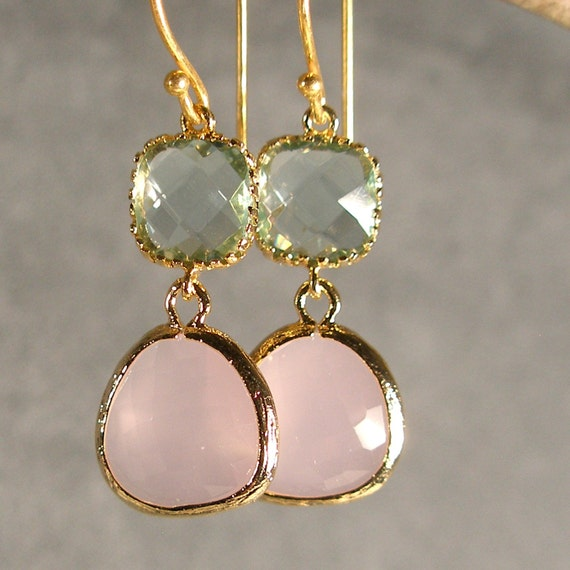 Prasiolite and Pink Ice Glass Gold Bridesmaid Earrings, Bridal Earrings, Bridal Party, Wedding Earrings, Bridesmaid Gift, Bridal (408G)