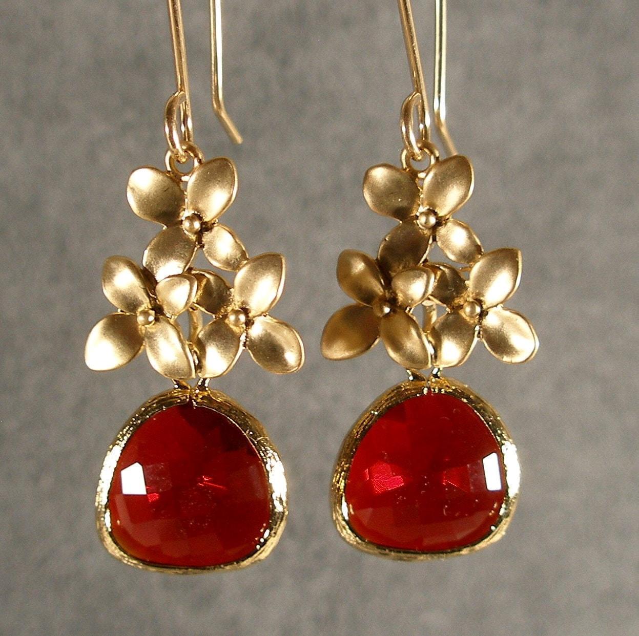 Garnet Red Glass Cherry Blossoms Gold Bridesmaids Earrings