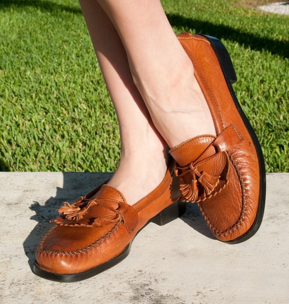 Cognac Leather Tassel Kilt Dexter Loafers Women By 2treasurehunt