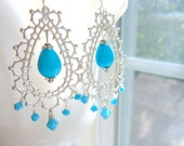 Bollywood Earrings Morocco Bridal Turquoise Silver Lace by MinouBazaar