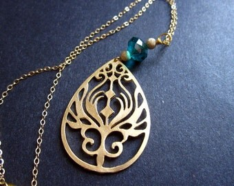 Gold Peacock Necklace Gifts for Her Under 30 Teal Art Nouveau by MinouBazaar