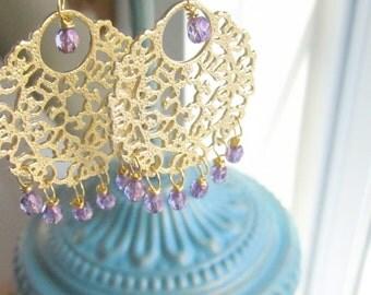 Gold Chandelier Bollywood Bridal Earrings Lilac Purple Gold Filigree by MinouBazaar