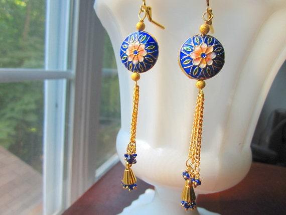 Exotic Cloisonne Earrings Cobalt Blue Floral Vintage Indian Tassels by MinouBazaar