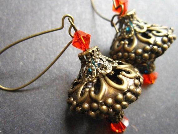 Moroccan Lantern Earrings Travel Silk Road Antique Brass Filigree Orange Blue by MinouBazaar