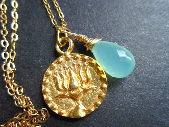 Gold Lotus Necklace Yoga Om Buddhist Hindu by MinouBazaar