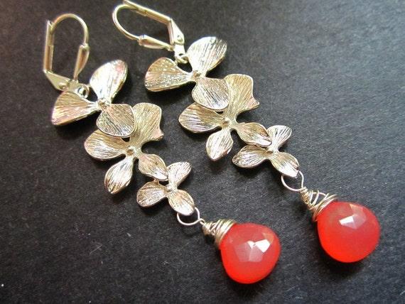 Silver Orchid Earrings Coral Tangerine Drops by MinouBazaar