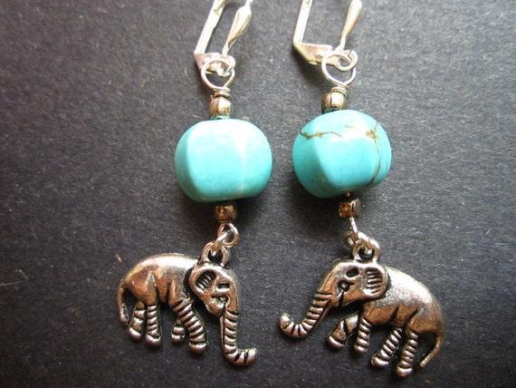 Elephant Earrings Turquoise Silver by MinouBazaar