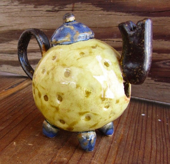 Teapot Whistle, unique handmade pottery, miniature