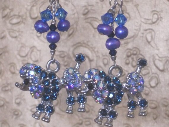 Poodle BLING -   Fancy Rhinestone Poodle Dangle Earrings, with Crystal Beads and Pearls