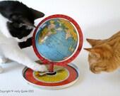 Cat Greeting Card Photo Orange Tabby Tuxedo Globe