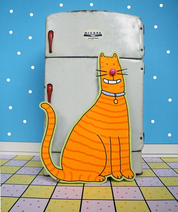 Cat Magnet Orange Tabby For Your Refrigerator