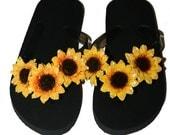 Boutique Handmade Sunflower Girls Flip Flops Size 12 13