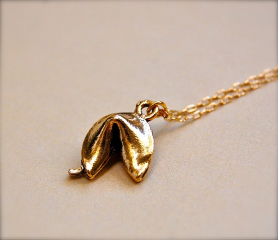 Fortune Cookie Charm Necklace Gold Good Luck Lucky Charms Chinese Bridesmaids Gifts Wedding