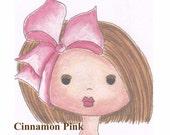 Miss Tia - Face (Cinnamon Pink Girl) Art Print