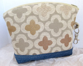 Clover Pattern Zippered Clutch Wristlet Pouch Cosmetic Bag Denim Upcycled Taupe Gold Copper Cream Rose Pink