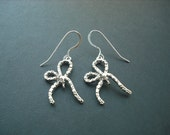 Lovely Ribbon earrings - white gold plated and sterling silver ear wires